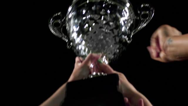 Acercamiento-de-un-trofeo-celebrará-hasta-el-acceso-un-un-equipo