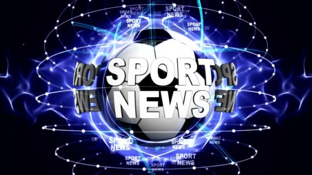 NOTICIAS-deportivas-y-pelotas-de-deportes-pantalla-Fondo-Renderización-animación-lazo-verde