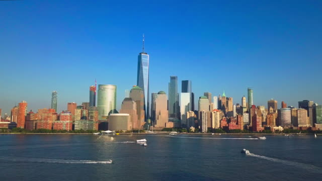 Aerial-cityscape-video-of-New-York-City-and-the-Hudson-River