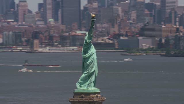 Daytime-aerial-view-of-Statue-of-Liberty-in-New-York-City-