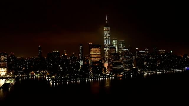 Lower-Manhattan---Aerial-Skyline-of-World-Trade-Center-at-Night