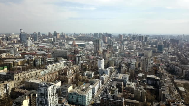 """View-of-the-spring-city-of-Kiev-and-the-National-Sports-Complex-""""Olympic"""""""