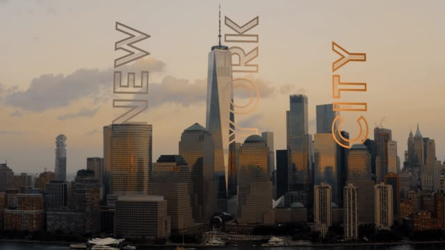 New-York-City-motion-graphic-text-attached-to-buildings-4K