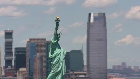 Aerial-view-of-Statue-of-Liberty-and-Manhattan-