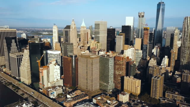 Aerial-view-of-the-Manhattan-district-in-New-York-America-Drone-flying-over-the-busy-city-near-the-East-river