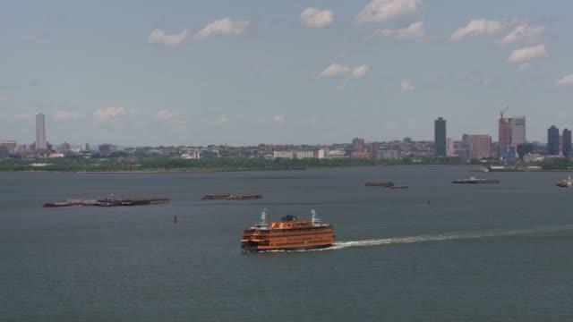 Aerial-shot-of-Staten-Island-Ferry-in-New-York-Harbor-