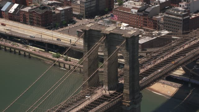 Closeup-aerial-shot-of-Brooklyn-Bridge-