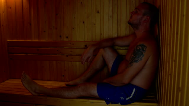 Man-in-shorts-sitting-in-the-sauna-at-the-Chamber-and-heated