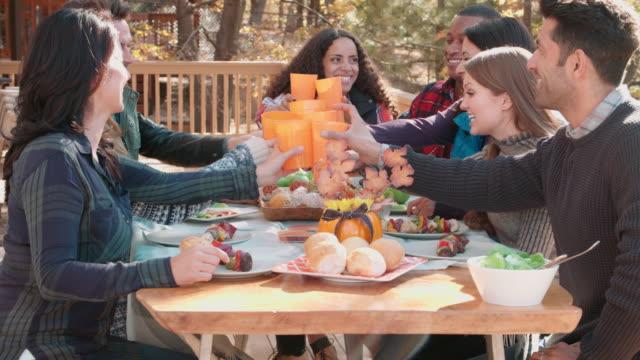 Grupo-de-amigos-felices-en-una-mesa-al-aire-libre-haciendo-un-brindis