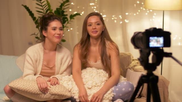 female-bloggers-recording-home-video