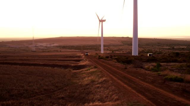 Freunde-genießen-einen-Reise-durch-Wind-Bauernhof-ein-Sonnenuntergang