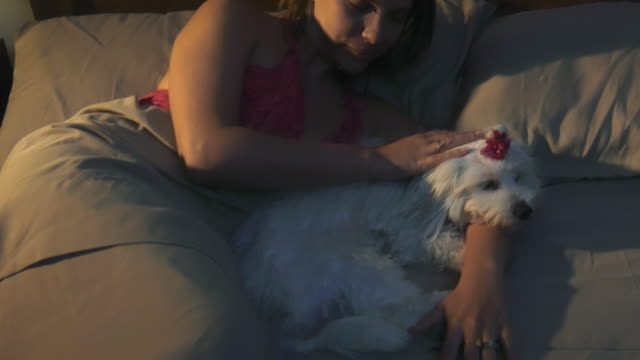 Woman-Stroking-Dog-In-Bed-Sleeping-At-Night