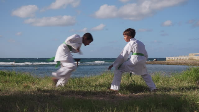 Kids-Training-At-Karate-School-For-Sport-Activity-Leisure-Fun