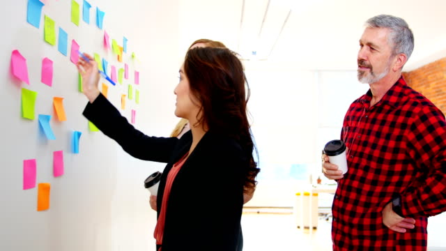 Executives-discussing-over-sticky-notes