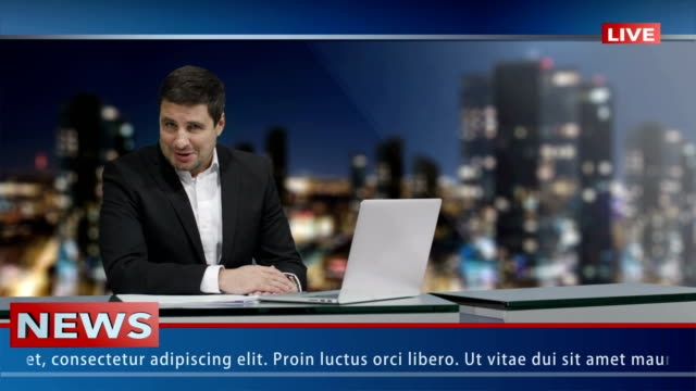Media-broadcaster-is-sitting-at-a-table-and-talking-News-show-Mock-up-