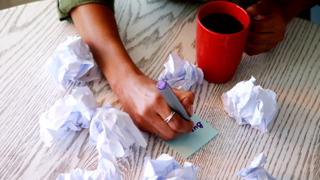 Female-executive-writing-on-sticky-notes-while-having-coffee-4k