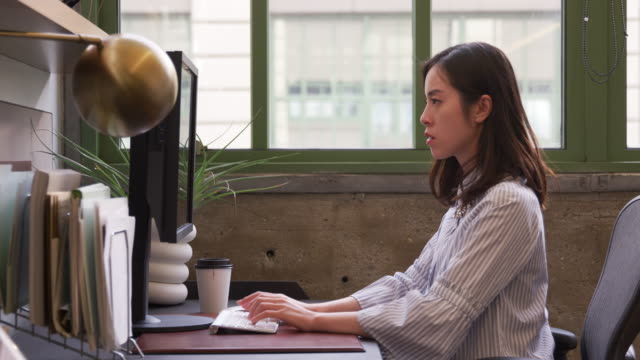 Young-Asian-woman-using-computer-in-an-office-side-view