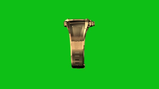 Golden-watch-loop-rotate-on-green-chromakey-background