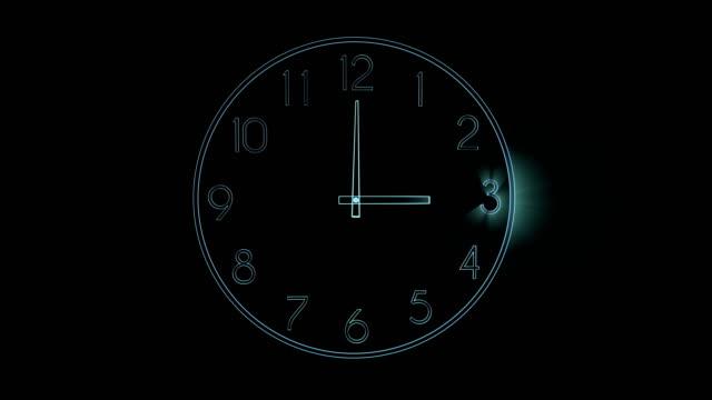 Digitalen-Hologramm-einer-Uhr-mit-Strahl-Licht-zeigt-dass-die-vergehende-Zeit-