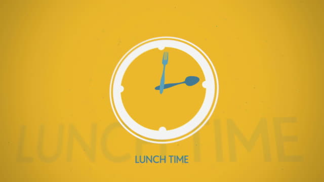 Lunch-time-clock-symbol-flat-animation