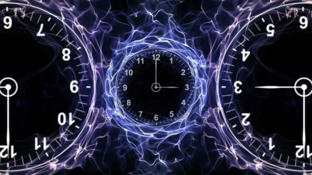 Three-Clocks-in-Fibers-Ring-Time-Travel-Concept-Background-Loop-4k