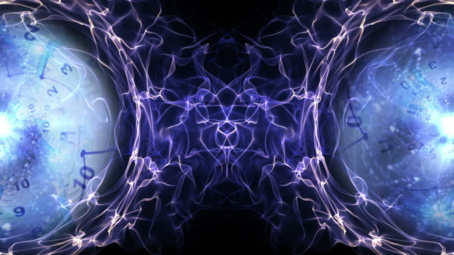 Two-Clocks-and-Tunnel-in-Fibers-Ring-Time-Travel-Concept-Background-Loop