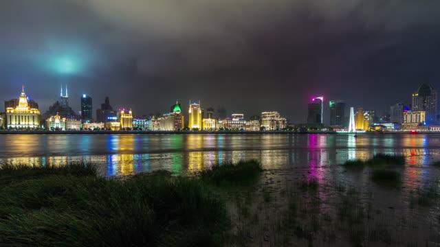 China-shanghai-cerca-de-panorama-de-aduana-Bahía-de-Río-de-luz-paisaje-urbano-4k-elapse-tim