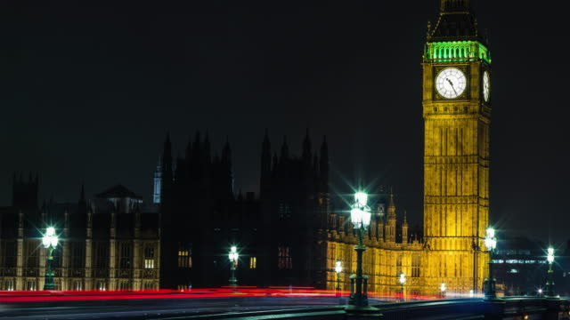 Time-lapse-4K-of-traffic-in-front-of-Big-Ben-at-night