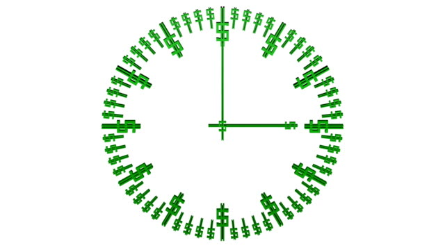 Animation-of-timelapse-of-clock-face-with-dollar-sign-