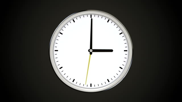 Spinning-clock-without-numbers-on-dark-background-