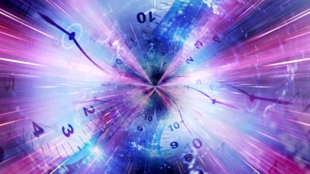 Relojes-y-túnel-de-animación-Renderización-anillo-de-fibras-Fondo-de-bucle