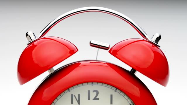 Red-alarm-clock-Close-up-view-