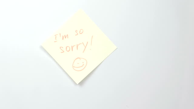 Note-on-yellow-sticker-paper-sheets-with-words-i-m-so-sorry-Family-note-