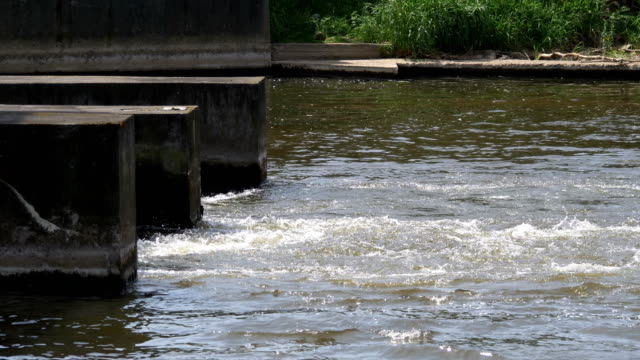 Water-flowing-in-sewage-treatment-plant-in-4k-slow-motion