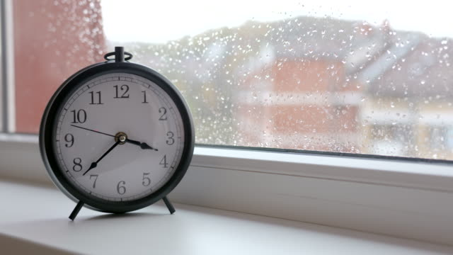 Old-retro-clock-against-window-glass-with-rain-drops