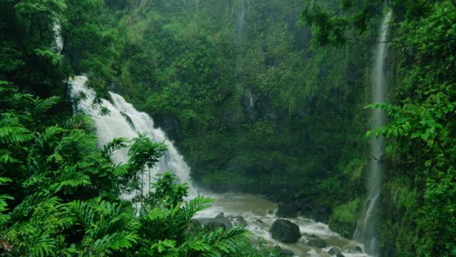 Wasserfall-im-tropischen-Regenwald-auf-der-Straße-nach-Hana-in-Maui-Hawaii