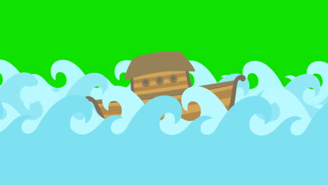 Noahs-Ark-Floating-In-The-Middle-Of-The-Sea-On-A-Green-Screen