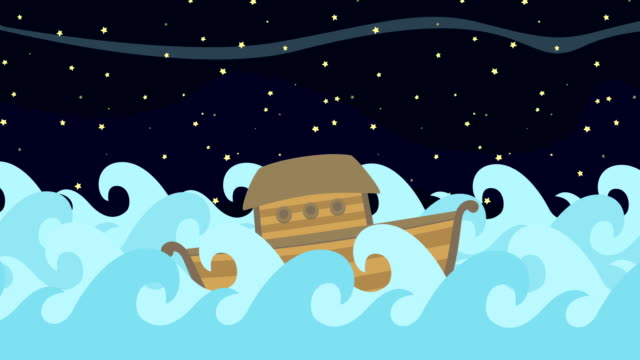 Noahs-Ark-Floating-In-The-Middle-Of-The-Sea-On-A-Starry-Night-Background