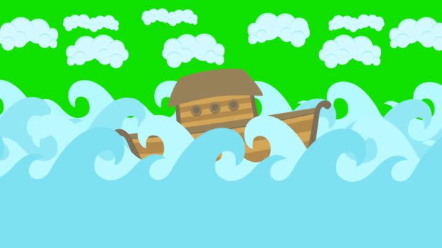 Noahs-Ark-Floating-In-The-Middle-Of-The-Sea-With-Cloudy-Sky-On-A-Green-Screen