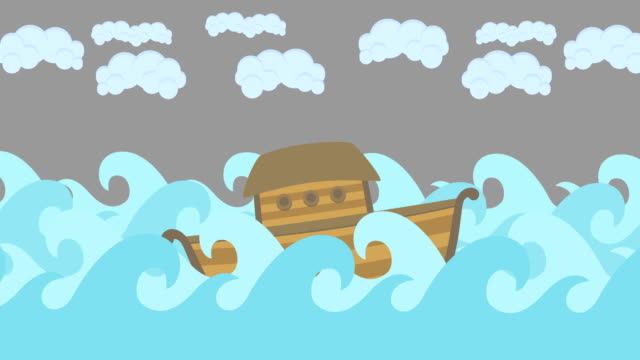 Noahs-Ark-Floating-In-The-Middle-Of-The-Sea-With-Cloudy-Sky