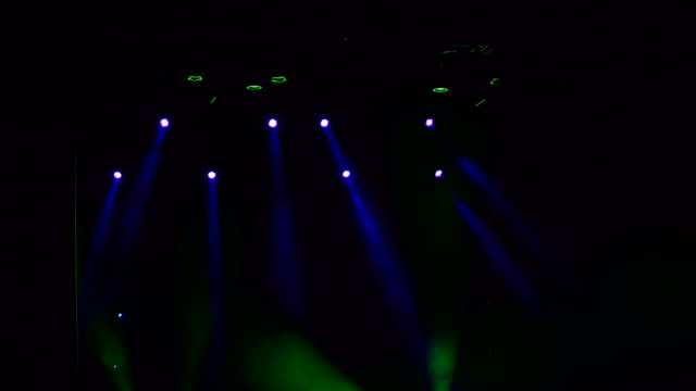 Multi-colored-stage-lights-light-show-at-concert-