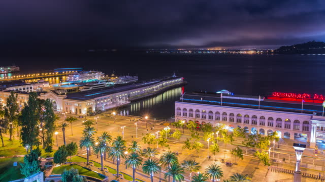 Time-Lapse---Beautiful-Night-View-of-the-Ferry-Building-in-San-Francisco