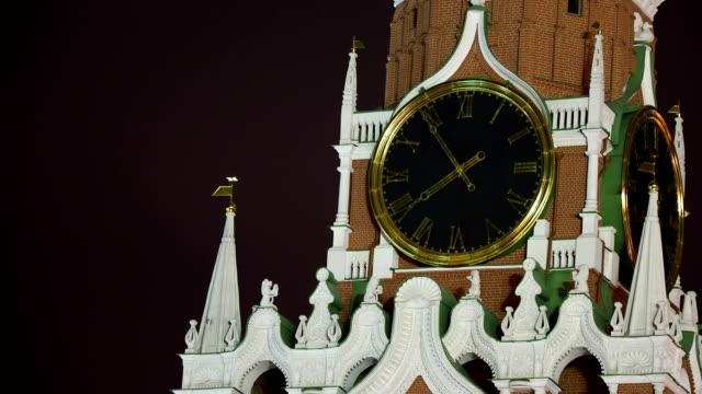 Big-clock-on-the-Spasskaya-tower-in-Kremlin-Historic-landmark-in-Moscow-Russia