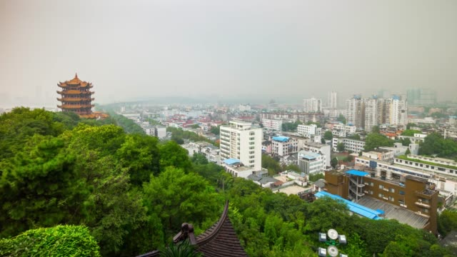 wuhan-yellow-crane-temple-park-rooftop-cityscape-panorama-4k-time-lapse-china