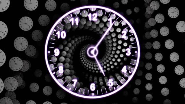 Reloj-fondo-túnel-Loop-de-animación-Renderización-concepto-de-recorrido-del-tiempo-