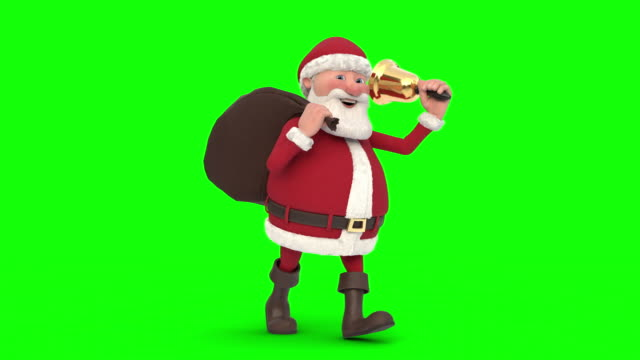 Santa-Claus-zu-Fuß-auf-grünem-Hintergrund-Nahtlose-Schleife-3d-animation