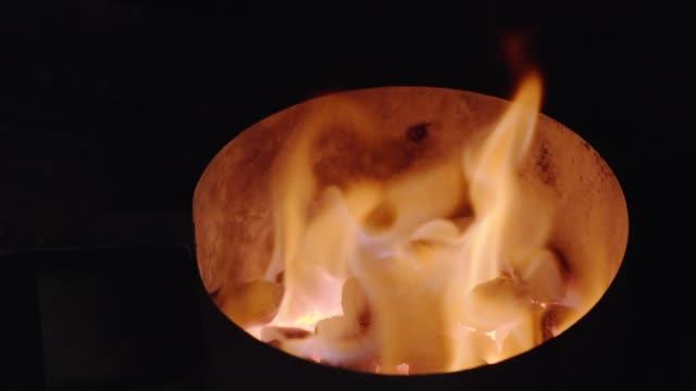 Llama-ardiente-Fondo-de-fuego-Carbones-calientes-Fuego-Carbón-de-leña-brasas-rojo-fondo-Quema-de-carbones-que-brilla-con-luz-de-colores-naranja-Chef-hacer-hamburguesas