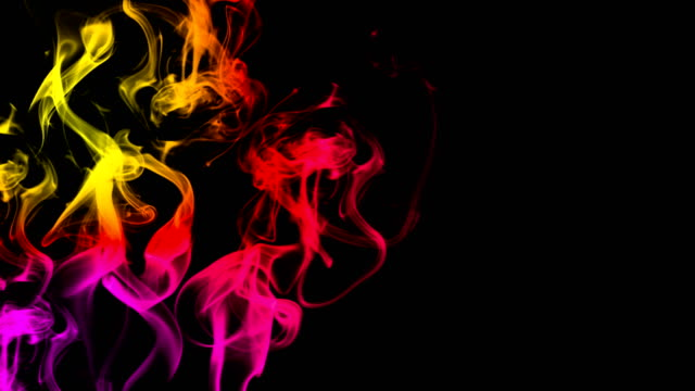 CG-animation-of-colorful-smoke-on-a-black-background-Juicy-and-fresh-color-3D-rendering