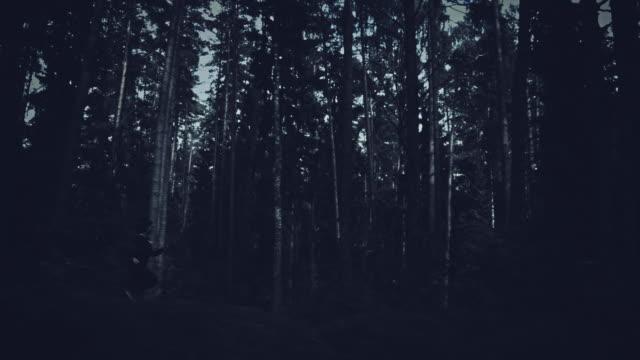 4K-Halloween-Horror-Woman-Running-in-Dark-Forest