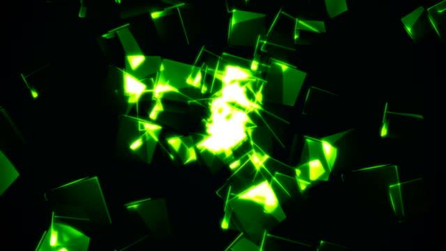 Flying-green-rectangular-cubes